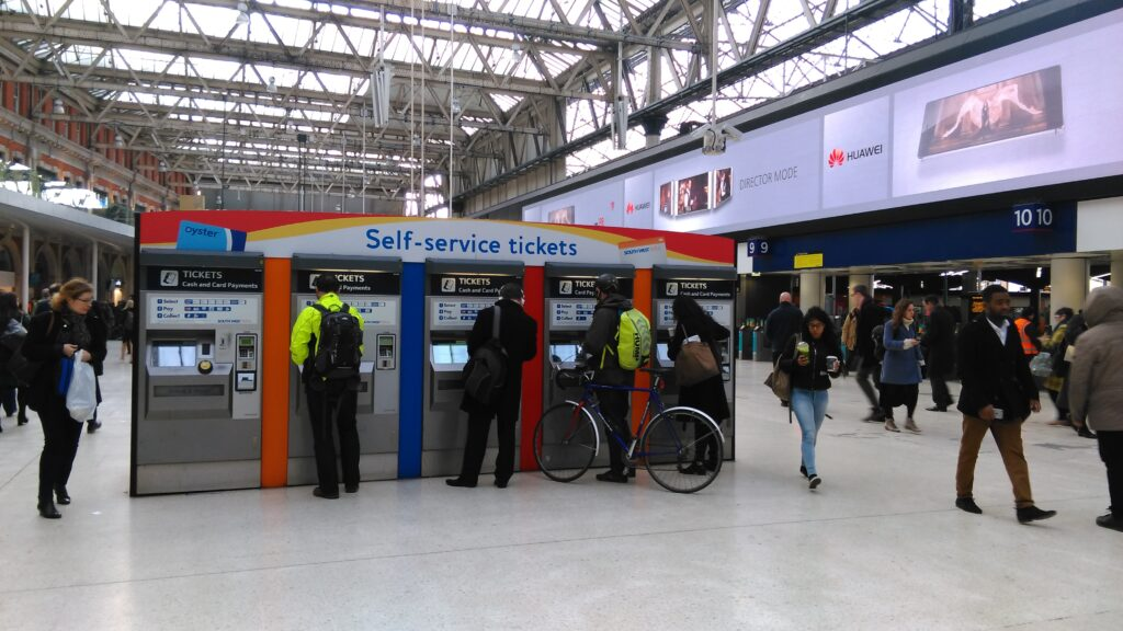 ticket machines at Waterloo Station