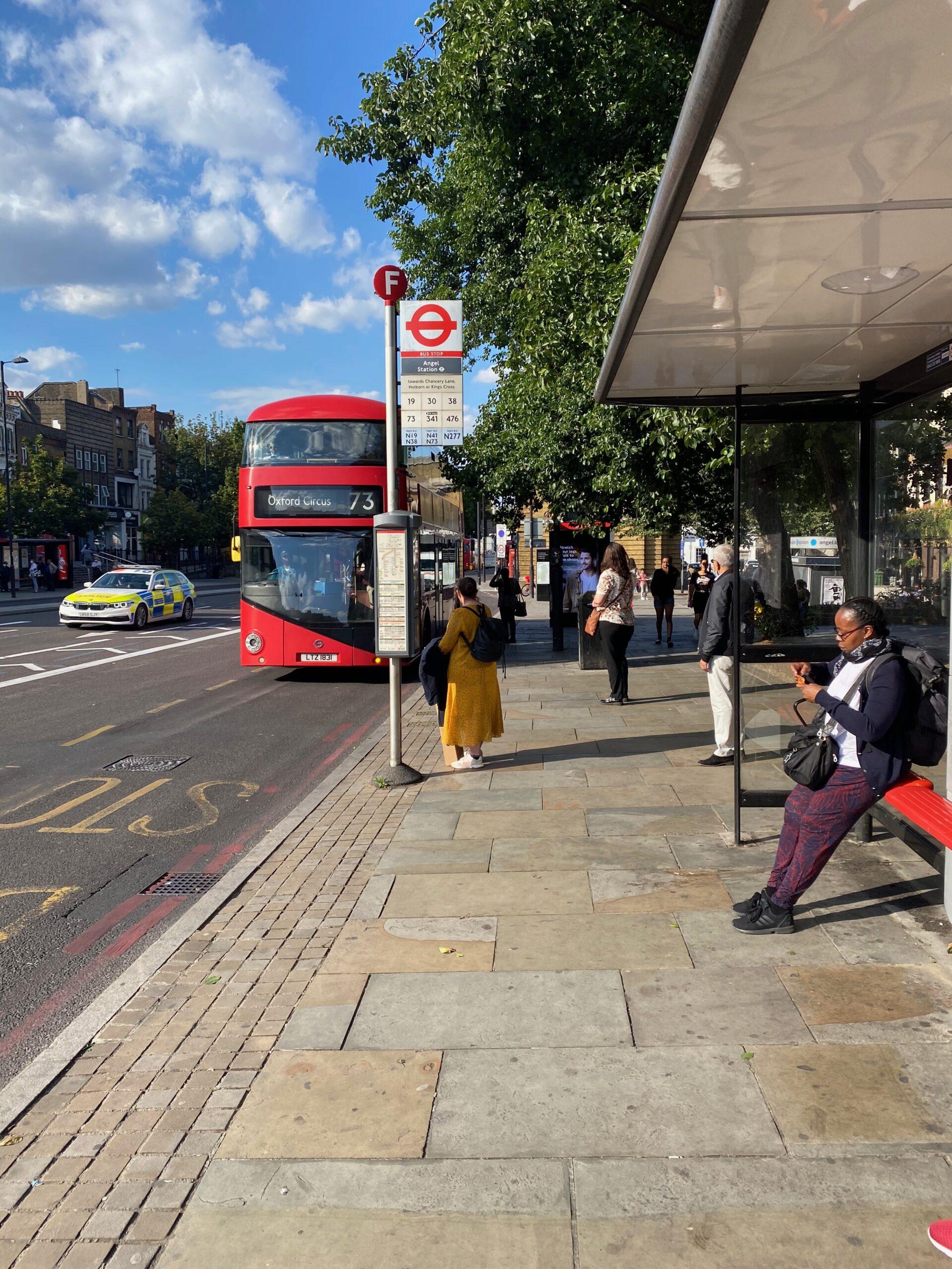 passenger at bus stop