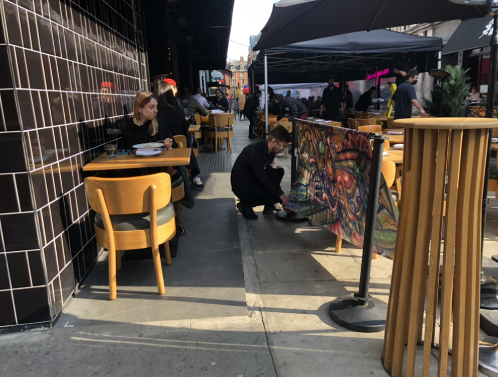 Outdoor dining blocking street space