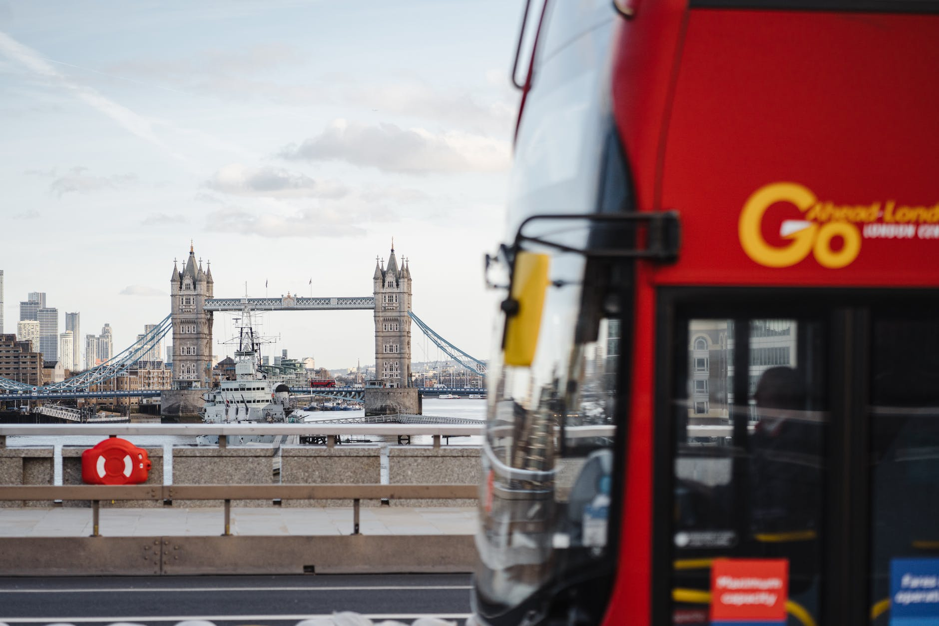 London Bus and Tower Bridge in background