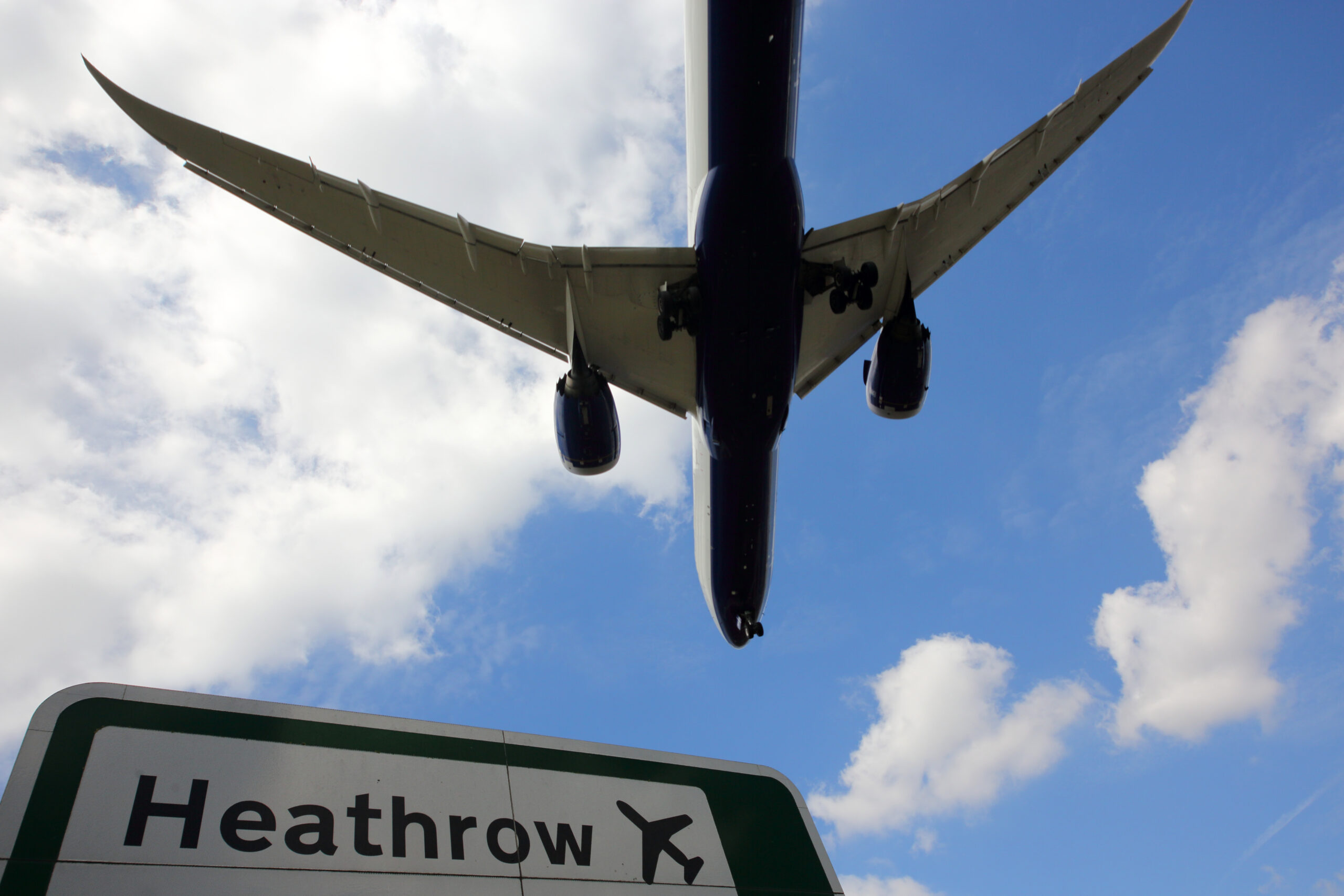 Heathrow Airport sign and plane