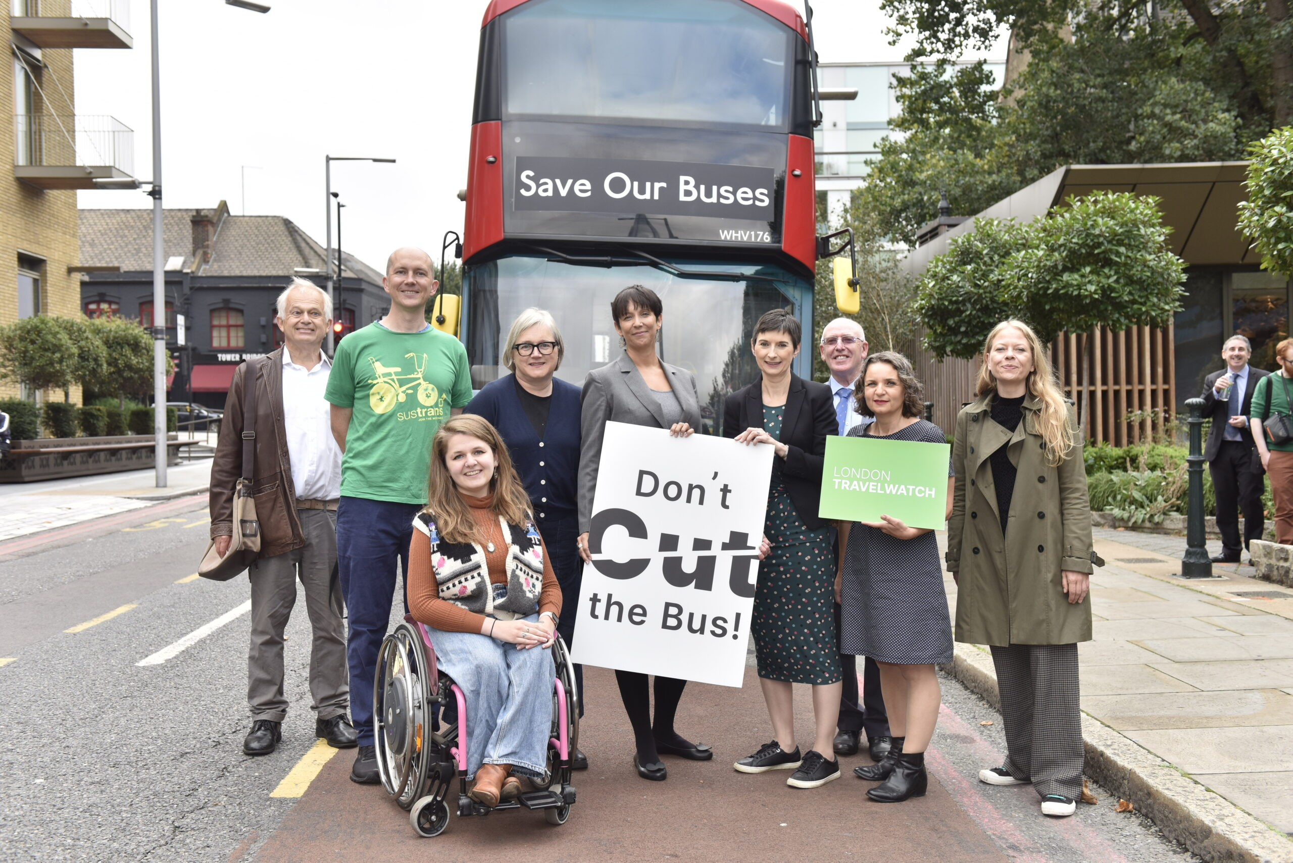 London TravelWatch bus campaign launch group photo